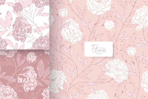 手描きのぼろぼろのシックなピンクの花柄