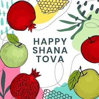 Hand drawn shana tova concept
