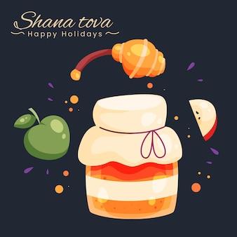 手描きのシャナトヴァとリンゴと蜂蜜