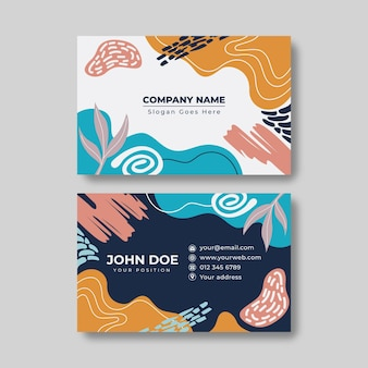 Hand drawn shapes business cards template