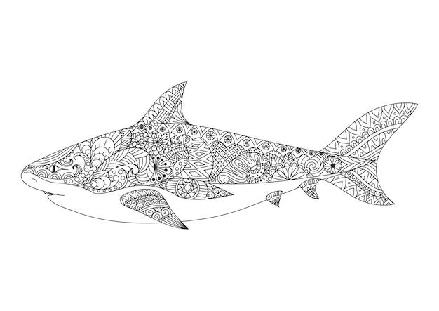 손으로 그린 상어 배경
