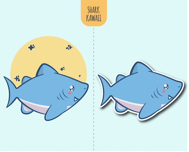 手描きステッカーデザインオプションでサメのかわいいイラスト Premiumベクター