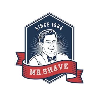 手描きのひげそり男性のロゴ