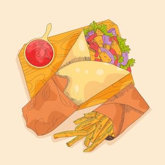 손으로 그린 shawarma 그림
