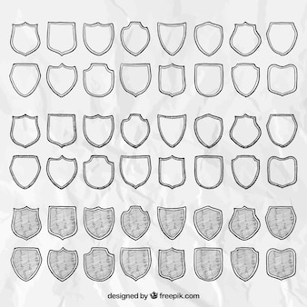 Hand drawn shields collection