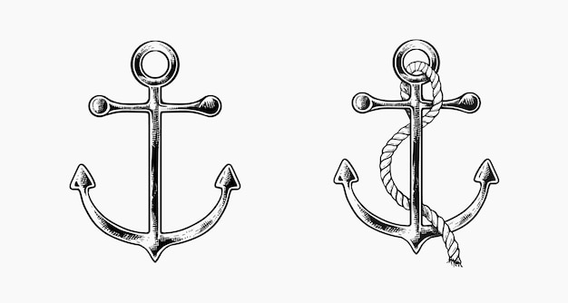 Hand drawn ship anchors with rope in sketch vintage style