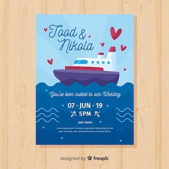 Hand drawn ship wedding invitation template