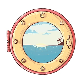 Hand drawn ship window porthole