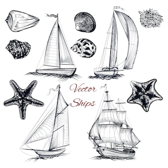 Hand drawn ships collection