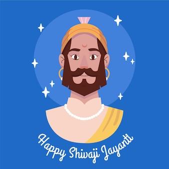 Shivaji jayanti illustrazione disegnata a mano con saluto