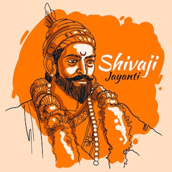 Hand-drawn shivaji jayanti illustration