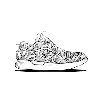 Hand drawn shoes sneaker outline