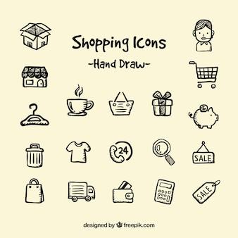 Hand drawn shopping icons
