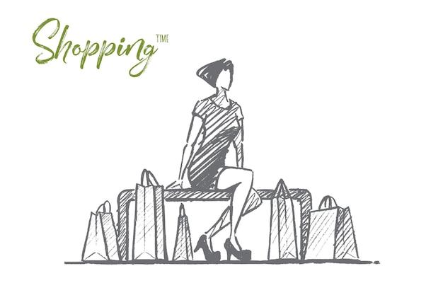 手描きショッピング時間の概念スケッチ