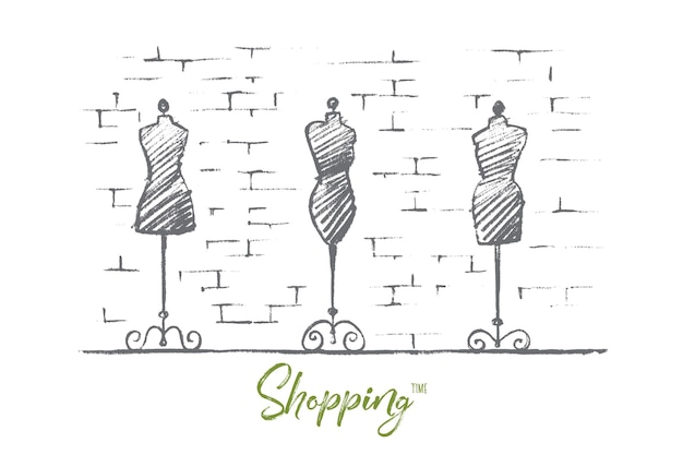 Hand drawn shopping time concept sketch
