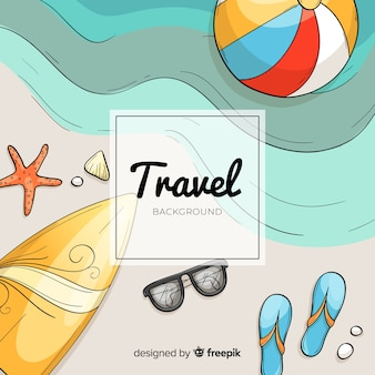 Hand drawn shore travel background