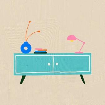 Mobili vettoriali da tavolino disegnati a mano in stile grafico piatto colorato