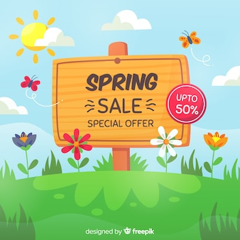 Hand drawn sign spring sale background