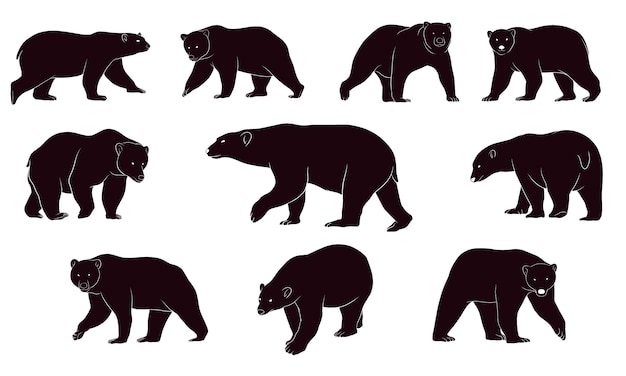 Hand drawn silhouette of bears