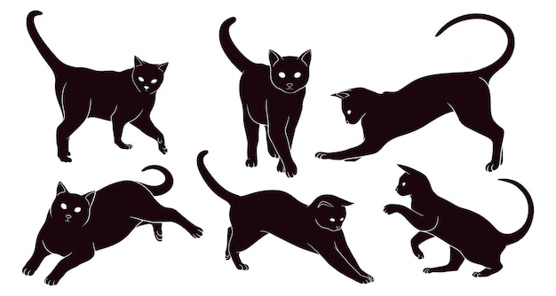 Hand drawn silhouette of cat