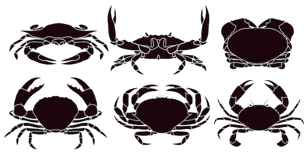 Hand drawn silhouette of crab