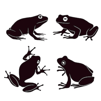 Hand drawn silhouette of frog