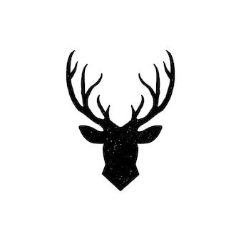 Hand drawn silhouette of head of reindeer