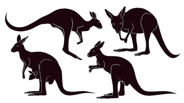 Hand drawn silhouette of kangaroo