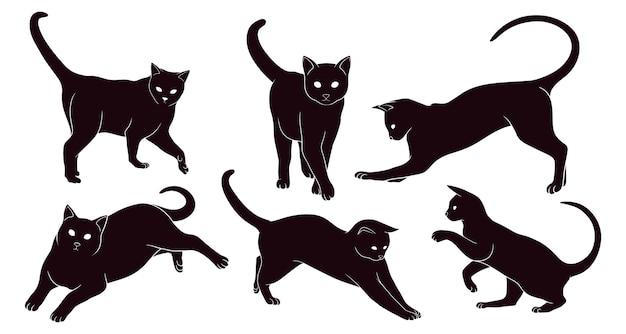 猫の手描きシルエット