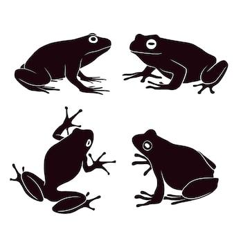 カエルの手描きのシルエット
