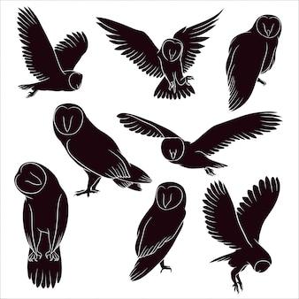 フクロウの手描きシルエット