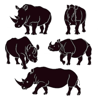 Рука нарисованные силуэт носорога