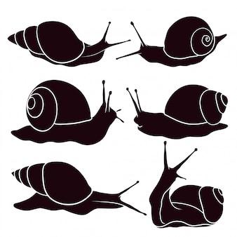 달팽이의 손으로 그려진 된 실루엣