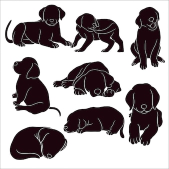 Hand drawn silhouette of puppy