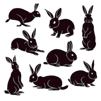 Hand drawn silhouette of rabbits