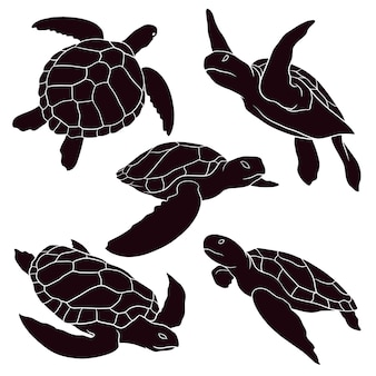 Hand drawn silhouette of sea turtle