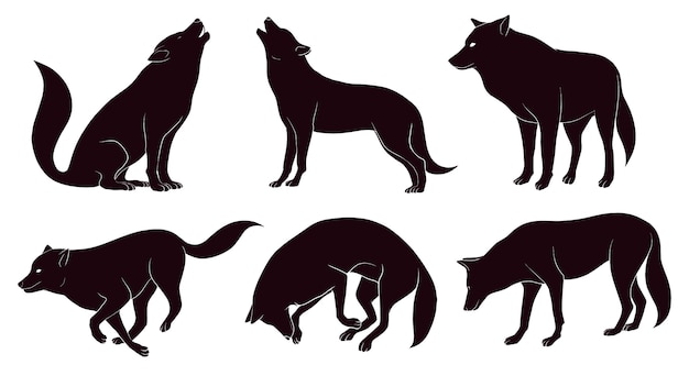 Hand drawn silhouette of wolf