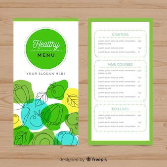 Hand drawn silhouettes healthy menu template