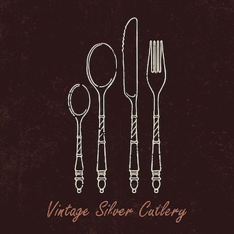 Hand-drawn silver cutlery with vintage texture.