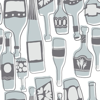 Hand drawn simple different glass bottles wallpaper. seamless pattern background with bar bottles. vector illustration