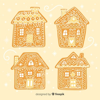 Hand drawn simple gingerbread houses