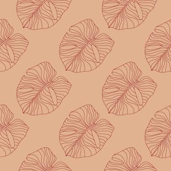 손으로 그린 된 간단한 monstera 원활한 낙서 패턴입니다. 옅은 적갈색 톤의 외곽선 이국적인 단풍 삽화.
