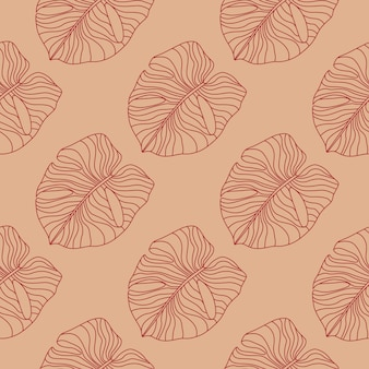 Hand drawn simple monstera seamless doodle pattern. stylized outline exotic foliage artwork in pale maroon tones.