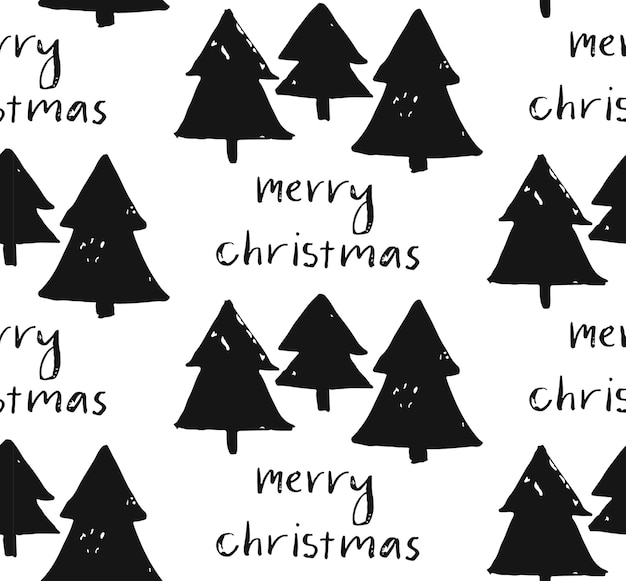 Hand drawn simple trendy abstract seamless christmas tree decoration background pattern dry brush painted with modern calligraphy phase merry christmas isolated on white background.