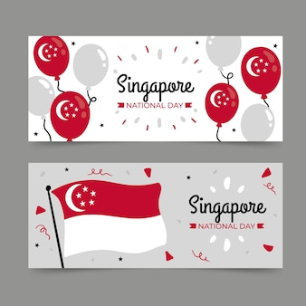 手描きのシンガポール建国記念日バナー セット