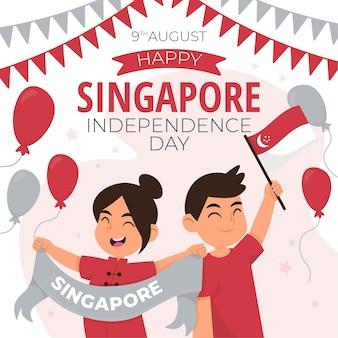 Нарисованная рукой иллюстрация национального дня сингапура