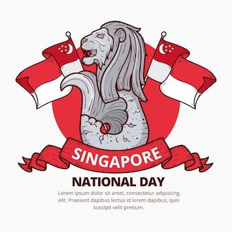 Illustrazione disegnata a mano della giornata nazionale di singapore