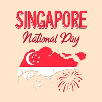 Hand drawn singapore national day lettering