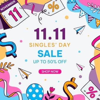 Нарисованная рукой иллюстрация дня распродажи сингла