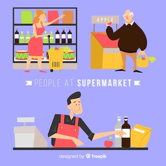 Hand drawn situations in the supermarket